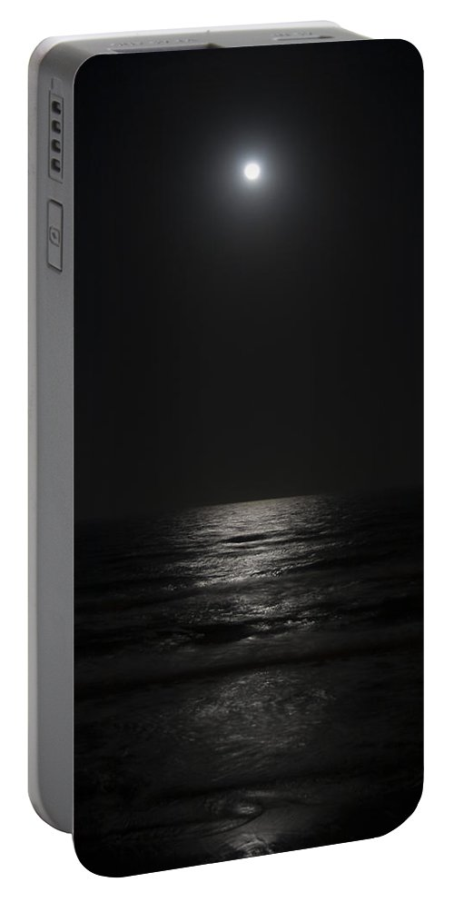 Beach Night Moon Light Wave Waves Water Ocean Sea Dark Bright Reflect Reflection Portable Battery Charger featuring the photograph Sleepless Night by Andrei Shliakhau