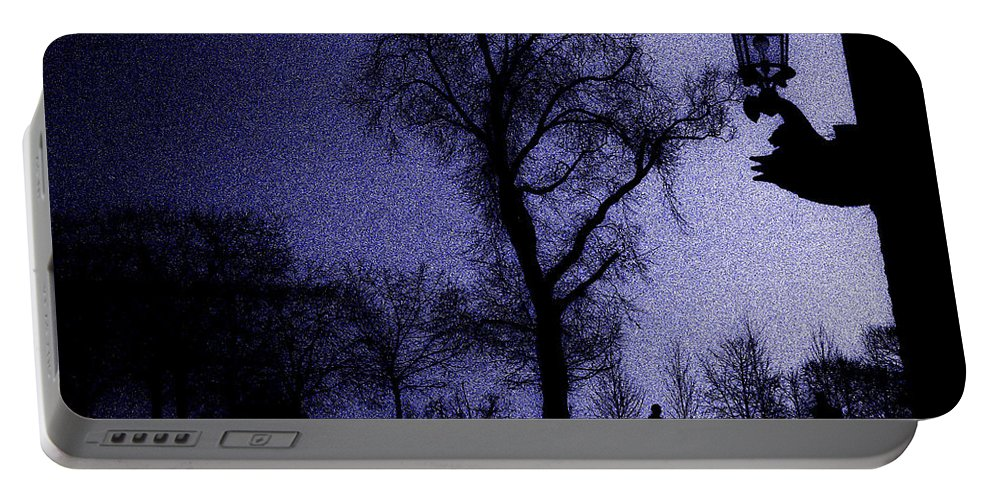 Night - Sleep - Moonlight - Tree - Person - Landscape - Lamp - Decor - Sleep - Moon - Sky - Dark Portable Battery Charger featuring the digital art Sleepless Night by Lyriel Lyra