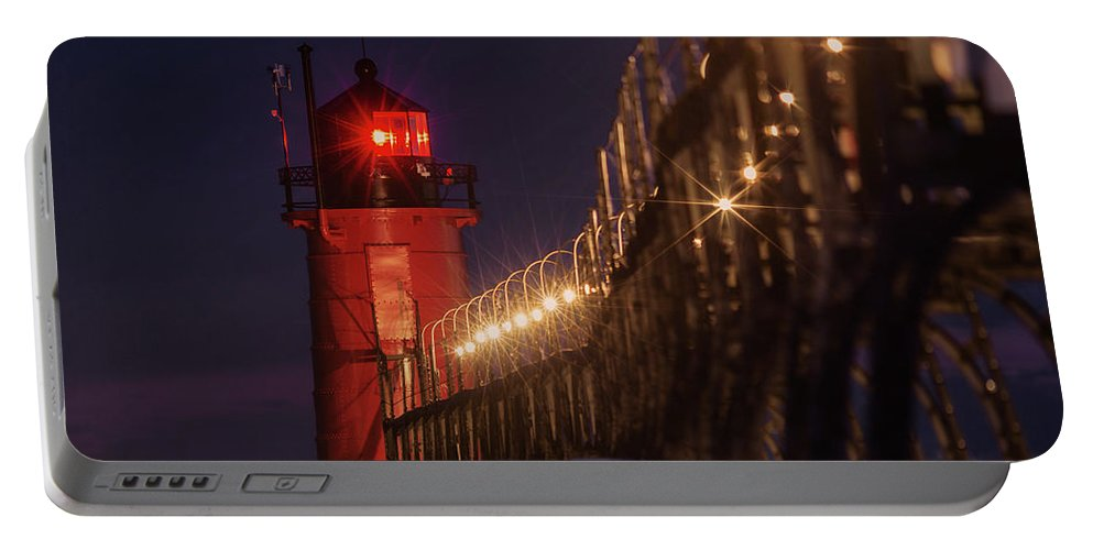 South Haven Lighthouse Portable Battery Charger featuring the photograph South Haven Lighthouse by J Thomas