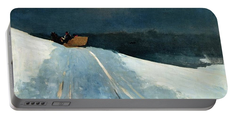 Winter Scene; Wintry; Snow; Snow-covered Landscape; Rural; Remote; Night; Darkness; Tracks; Path; Track; Moonlight; Sledge; Nocturne; Sleigh Ride Portable Battery Charger featuring the painting Sleigh Ride by Winslow Homer