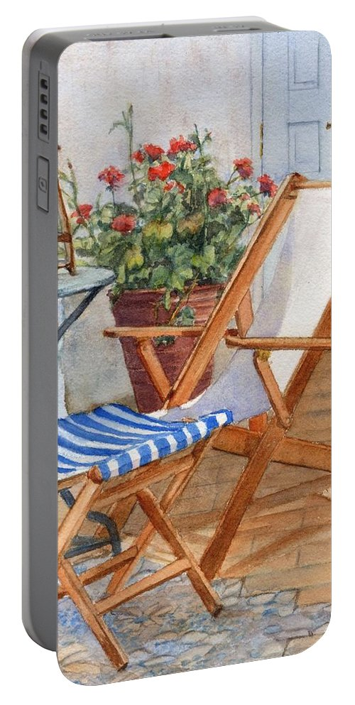 Sling Back Portable Battery Charger featuring the painting Sling Back Chair by Katherine Berlin