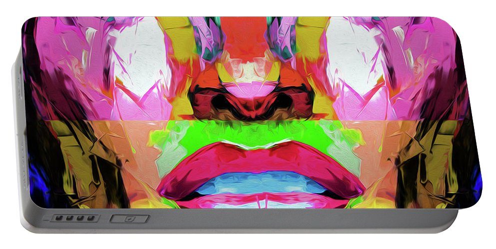 Face Portable Battery Charger featuring the painting Split Personality By Nixo by Nicholas Efthimiou