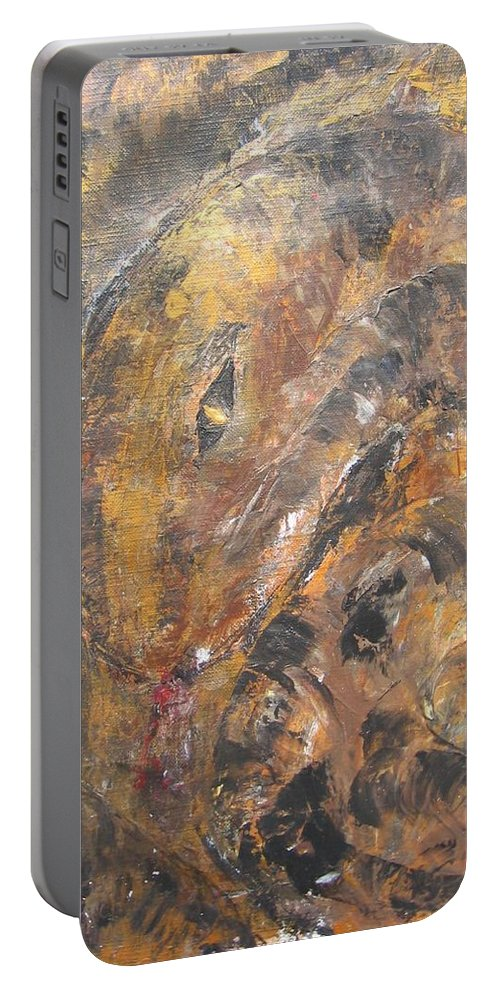 Acrylic Portable Battery Charger featuring the painting Slither by Maria Watt