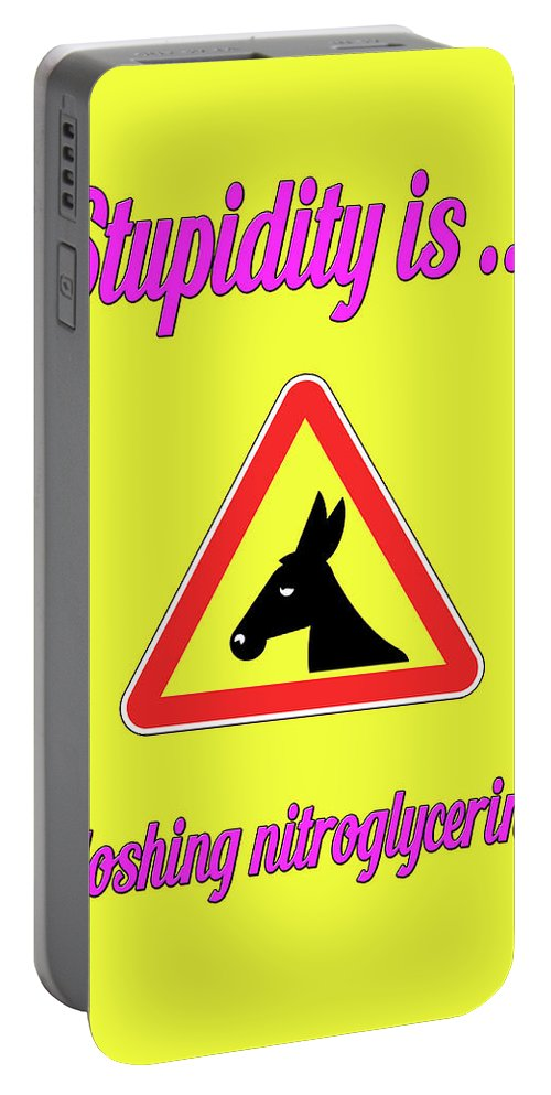 Funny Portable Battery Charger featuring the digital art Sloshing Bigstock Donkey 171252860 by Mitchell Watrous