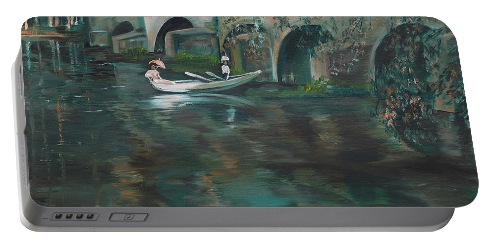 River Portable Battery Charger featuring the painting Slow Boat - Lmj by Ruth Kamenev