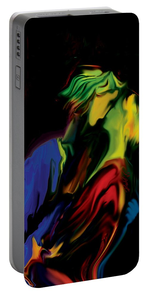 Black Portable Battery Charger featuring the digital art Slow Dance by Rabi Khan