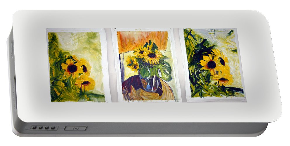 Landscape Portable Battery Charger featuring the painting Slunecny-triptych by Pablo de Choros