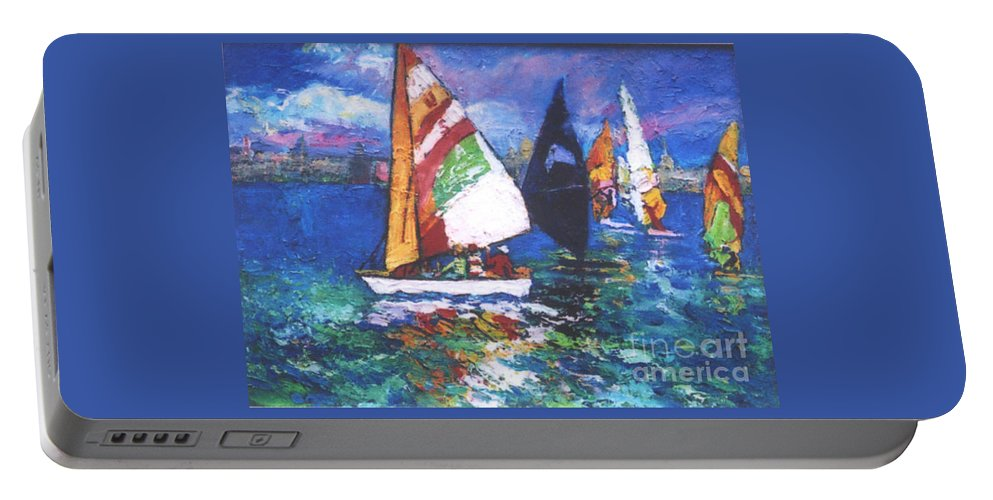 Sails Portable Battery Charger featuring the painting Small Boats by Guanyu Shi