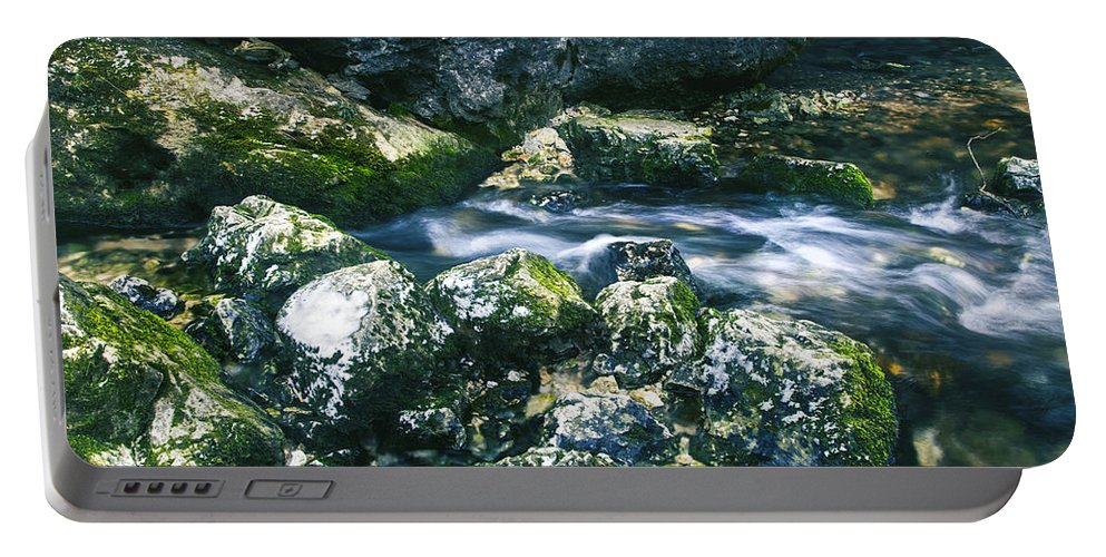 Amazing Portable Battery Charger featuring the photograph Small Freshwater Spring Under Rocks by Sandra Rugina