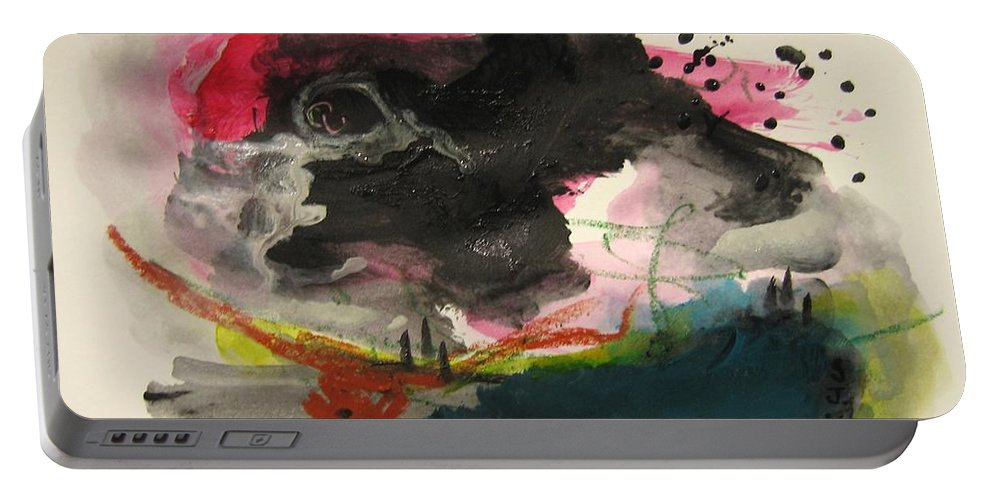 Abstract Paintings Portable Battery Charger featuring the painting Small Landscape12 by Seon-Jeong Kim