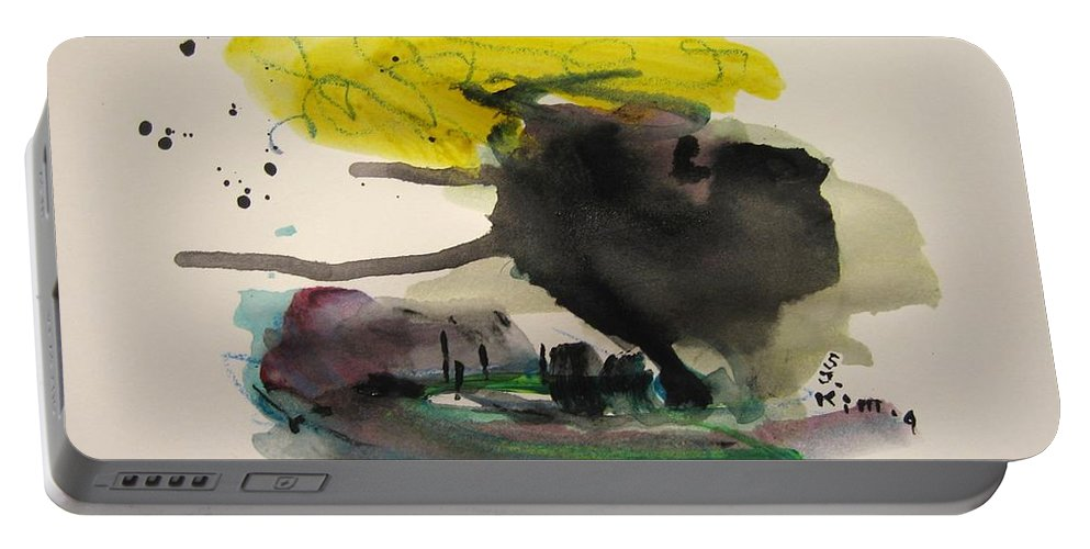 Abstract Paintings Portable Battery Charger featuring the painting Small Landscape16 by Seon-Jeong Kim
