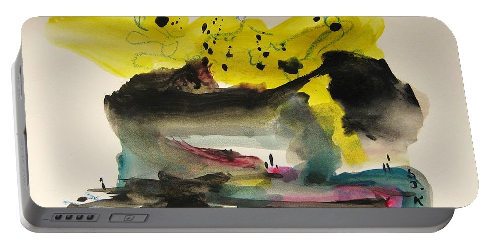 Aabstract Paintings Portable Battery Charger featuring the painting Small Landscape17 by Seon-Jeong Kim