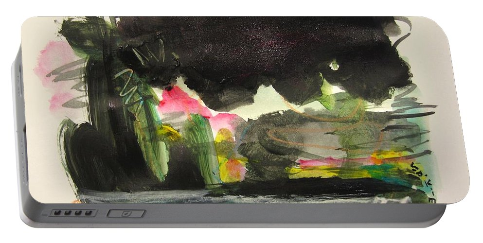 Abstract Paintings Portable Battery Charger featuring the painting Small Landscape34 by Seon-Jeong Kim