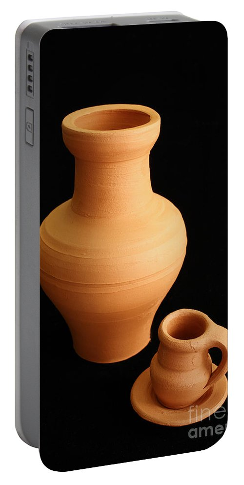 Ceramics Portable Battery Charger featuring the photograph Small Pottery Items by Gaspar Avila