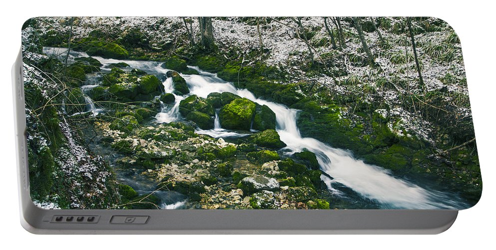 Amazing Portable Battery Charger featuring the photograph Small River In Forest In Winter by Sandra Rugina