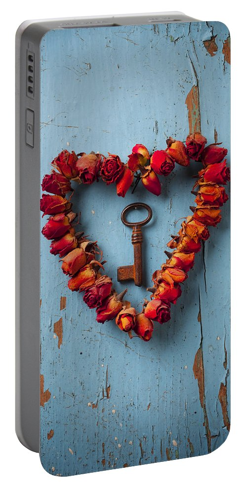 Love Rose Heart Wreath Key Portable Battery Charger featuring the photograph Small rose heart wreath with key by Garry Gay