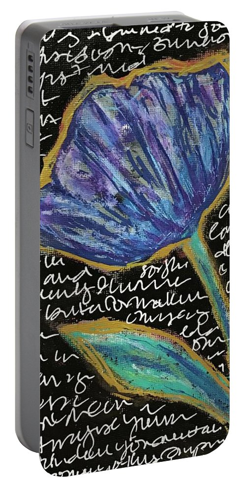 Flower Portable Battery Charger featuring the mixed media Small Talk by Suzanne Sicuranza
