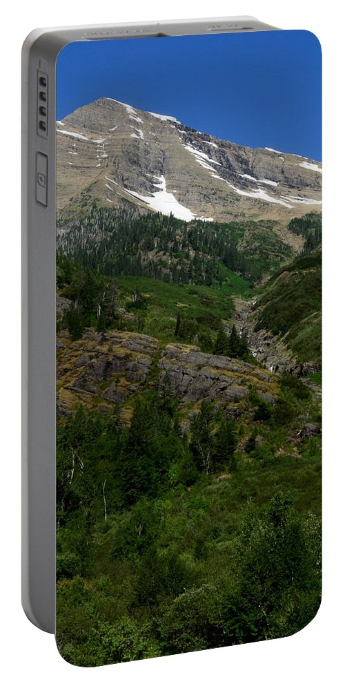 Waterfalls Portable Battery Charger featuring the photograph Small Waterfall Big Peak by Dwight Eddington