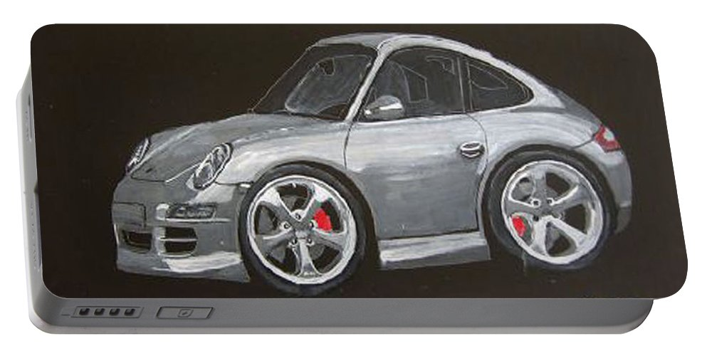 Car Portable Battery Charger featuring the painting Smart Porsche by Richard Le Page