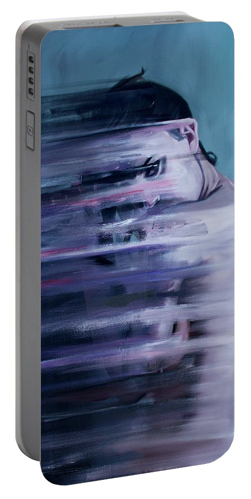 Spiritual Portable Battery Charger featuring the painting Smear by Tyler Schmalz