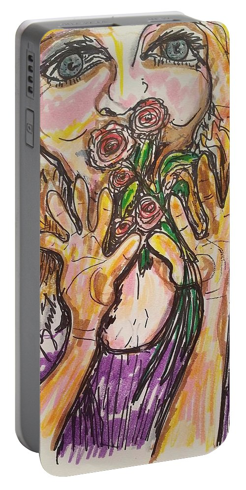 Roses Portable Battery Charger featuring the painting Smell The Roses by Geraldine Myszenski