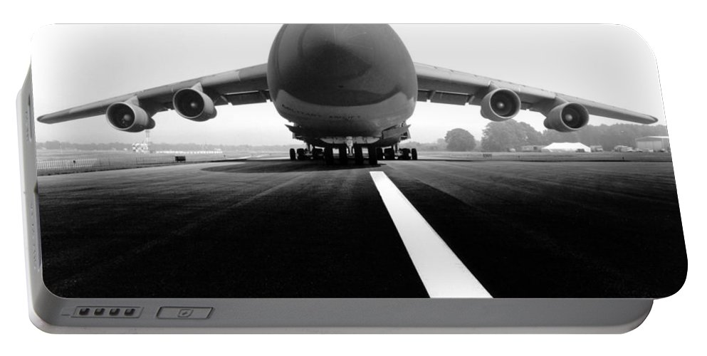 Black & White Portable Battery Charger featuring the photograph Smiling C Five Galaxy by Frederic A Reinecke