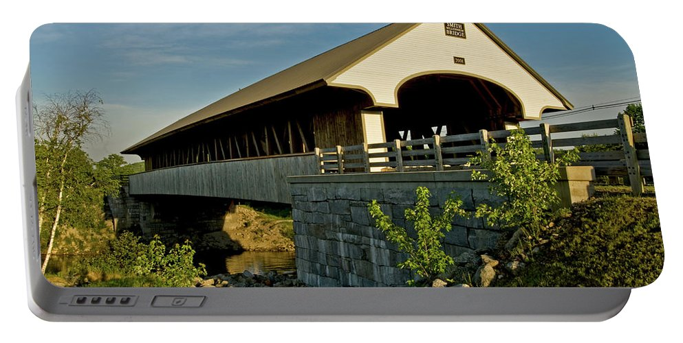 new England Covered Bridges Portable Battery Charger featuring the photograph Smith Millennium Bridge At Sunset by Paul Mangold