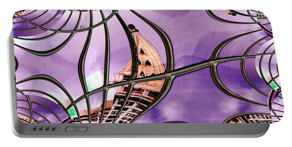 Seattle Portable Battery Charger featuring the digital art Smith Tower In King Street Station by Tim Allen