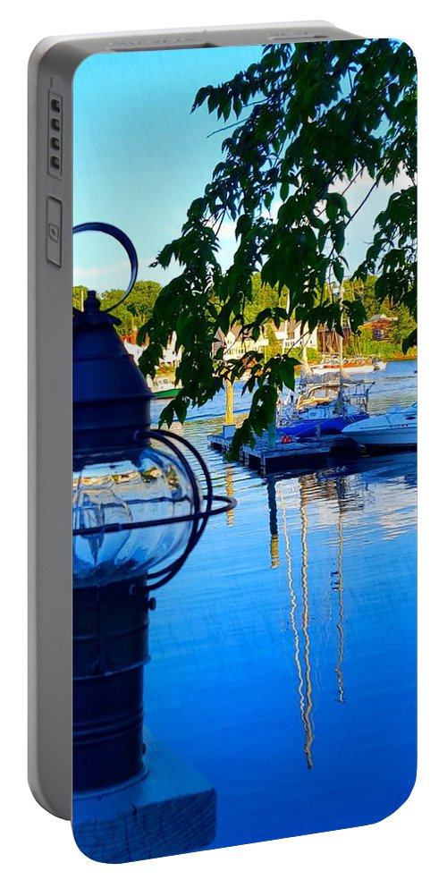 Blue Water Portable Battery Charger featuring the photograph Smith's Cove Reflections by Harriet Harding