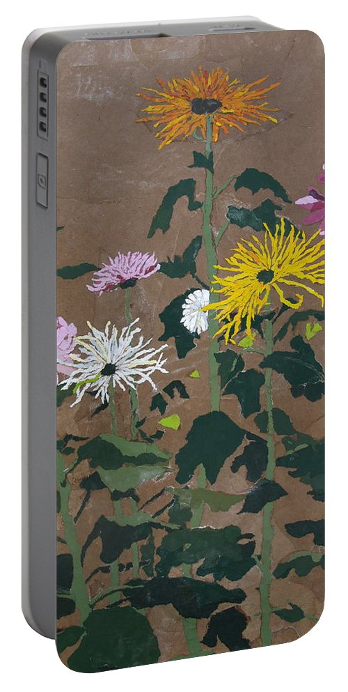 Collage Portable Battery Charger featuring the painting Smith's Giant Chrysanthemums by Leah Tomaino