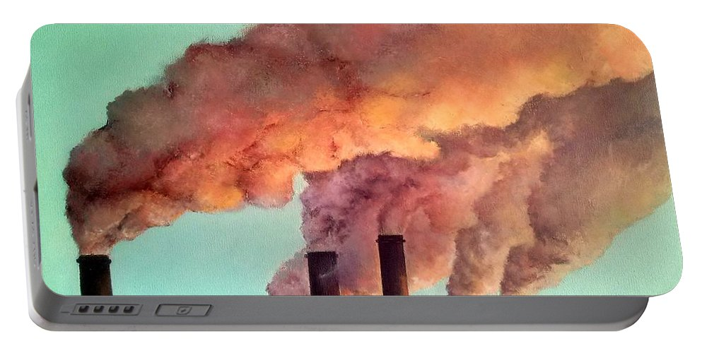 Smog Portable Battery Charger featuring the painting Smog Industrial II by Tomas Castano