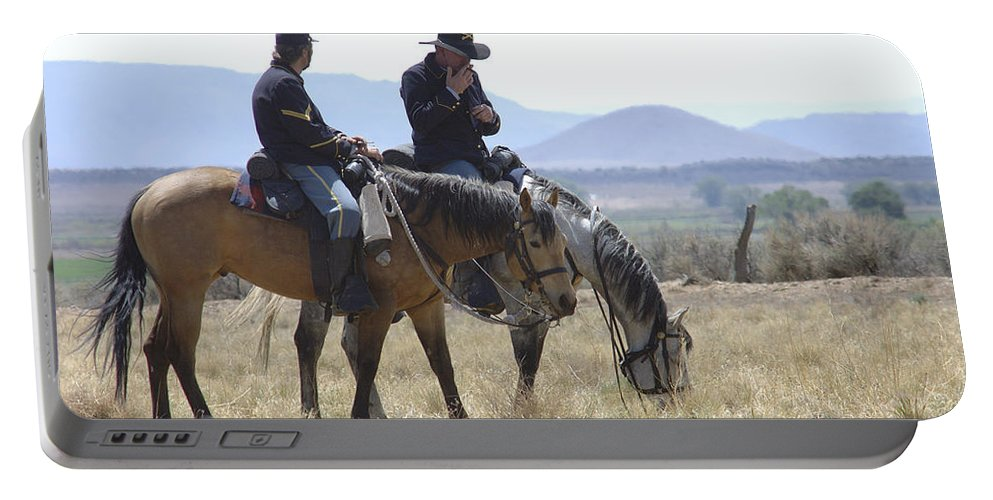 Cowboys Portable Battery Charger featuring the photograph Smoke Break by Jerry McElroy