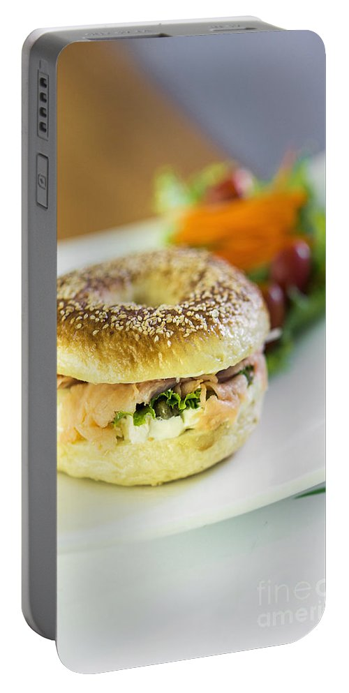 Bagel Portable Battery Charger featuring the photograph Smoked Salmon And Cream Cheese Bagel by Jacek Malipan