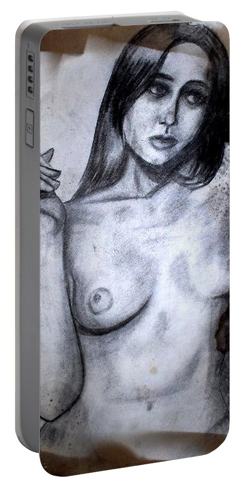 Nude Portable Battery Charger featuring the drawing Smoker by Thomas Valentine