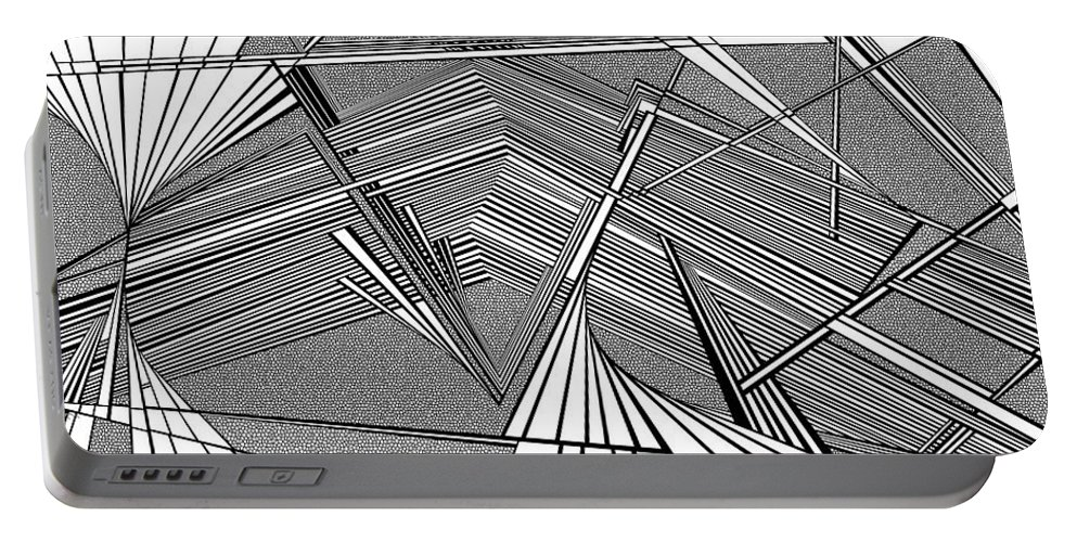 Dynamic Black And White Portable Battery Charger featuring the painting Smoking Art by Douglas Christian Larsen