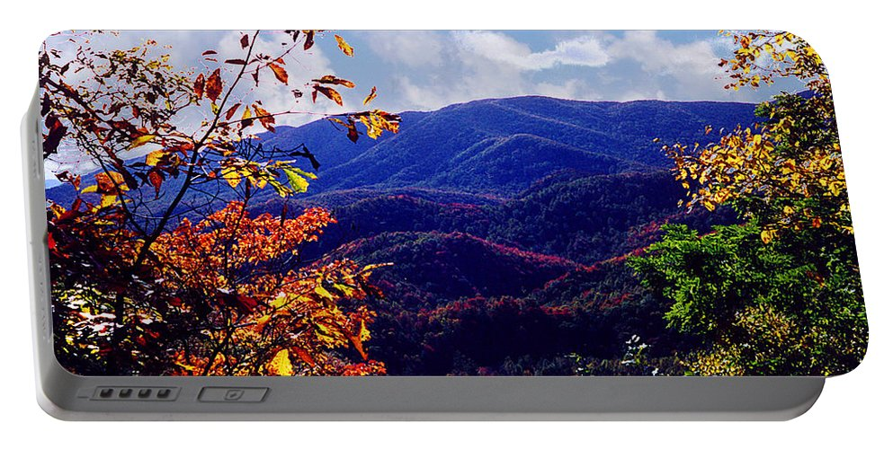 Mountain Portable Battery Charger featuring the photograph Smoky Mountain Autumn View by Nancy Mueller