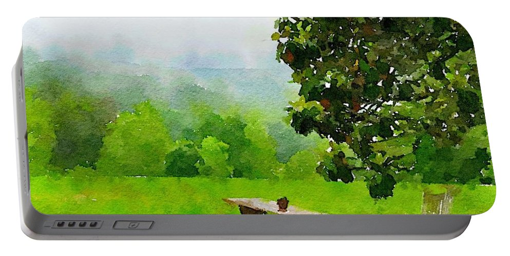 Smoky Mountains Portable Battery Charger featuring the digital art Smoky Mountain Morning by Sherry Turner