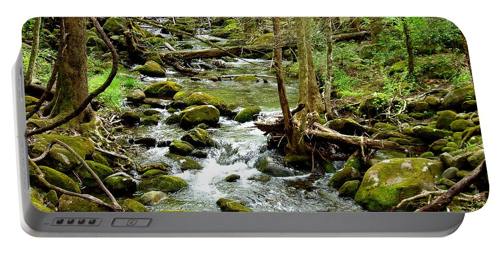 Smoky Mountains Portable Battery Charger featuring the photograph Smoky Mountain Stream 1 by Nancy Mueller