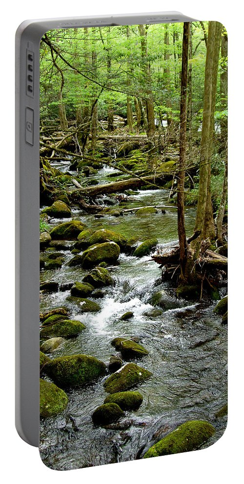 River Portable Battery Charger featuring the photograph Smoky Mountain Stream 2 by Nancy Mueller