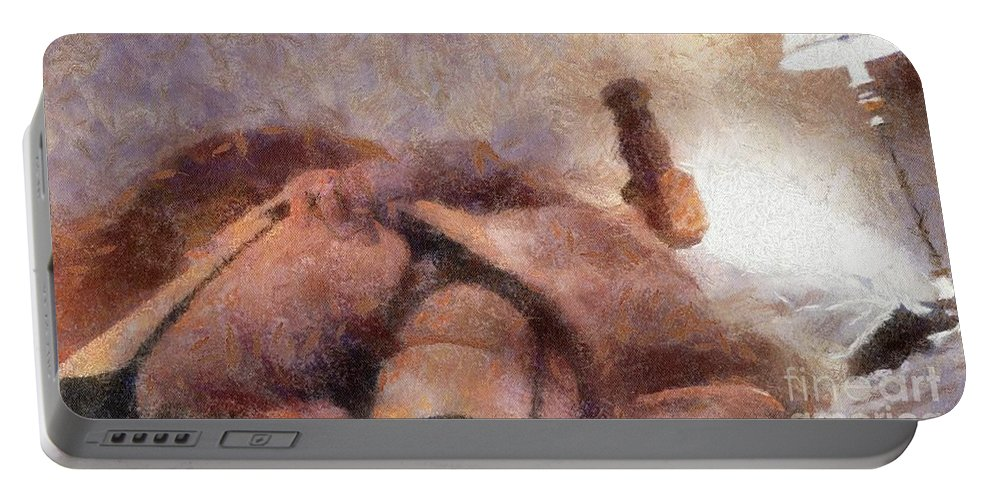 Burlesque Portable Battery Charger featuring the painting Smother Me By Mary Bassett by Mary Bassett