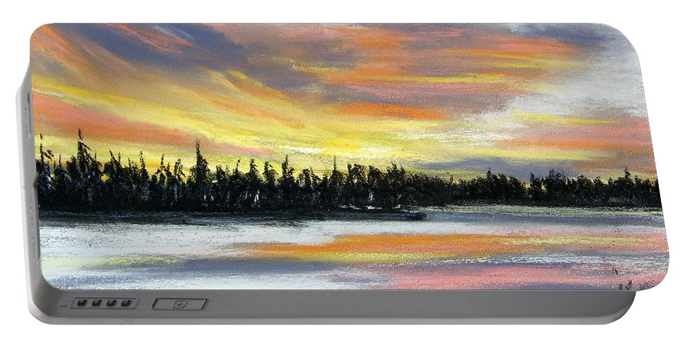 Sunset Portable Battery Charger featuring the pastel Snake River Sunset by Gale Cochran-Smith