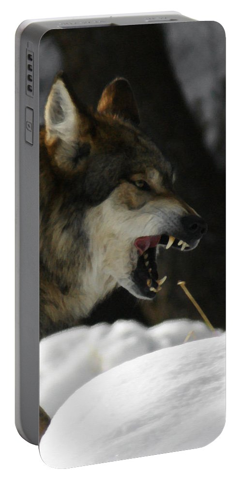 Wolf Portable Battery Charger featuring the photograph Snarling Wolf by Ernie Echols