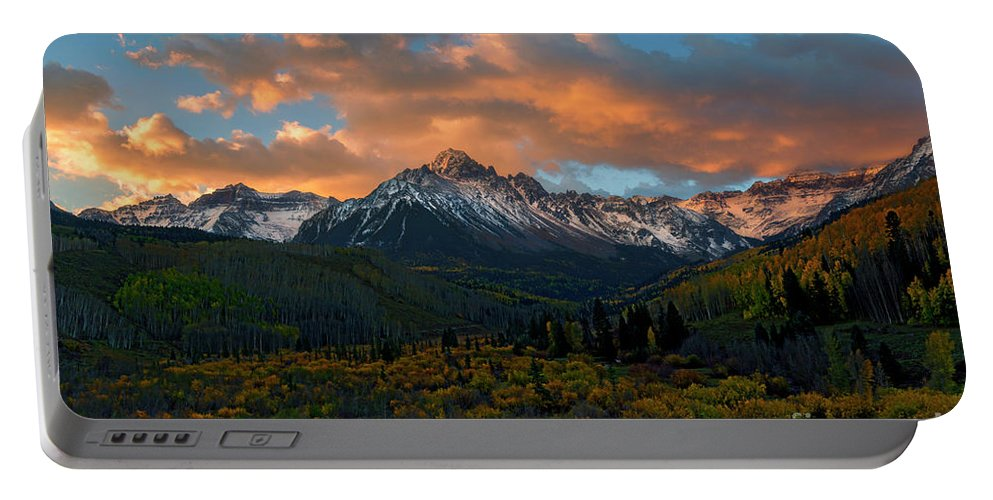 Sneffels Range Portable Battery Charger featuring the photograph Sneffels Autumn Sunrise by Mike Dawson