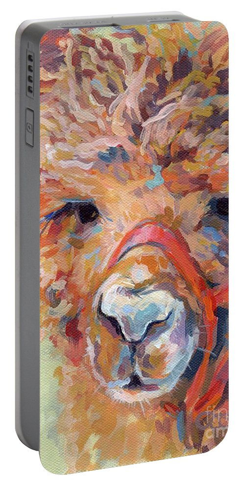 Llama Portable Battery Charger featuring the painting Snickers by Kimberly Santini