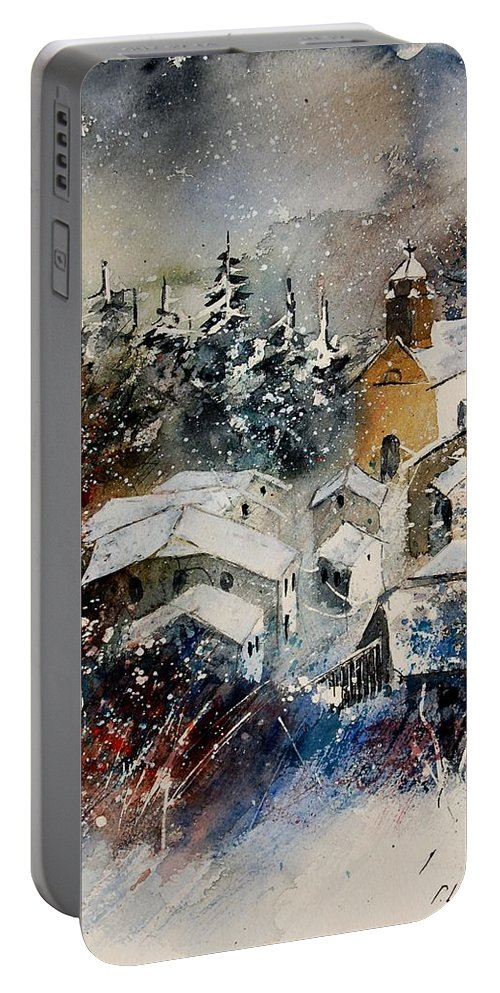 Landscape Portable Battery Charger featuring the painting Snon In Frahan by Pol Ledent
