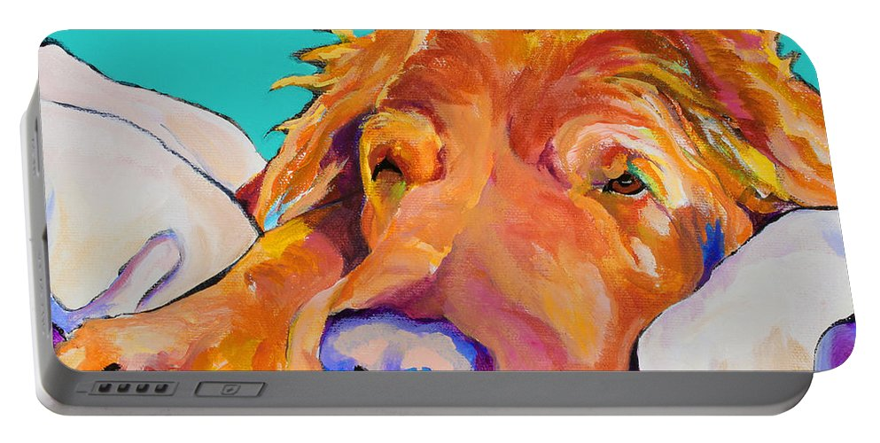 Dog Poortraits Portable Battery Charger featuring the painting Snoozer King by Pat Saunders-White