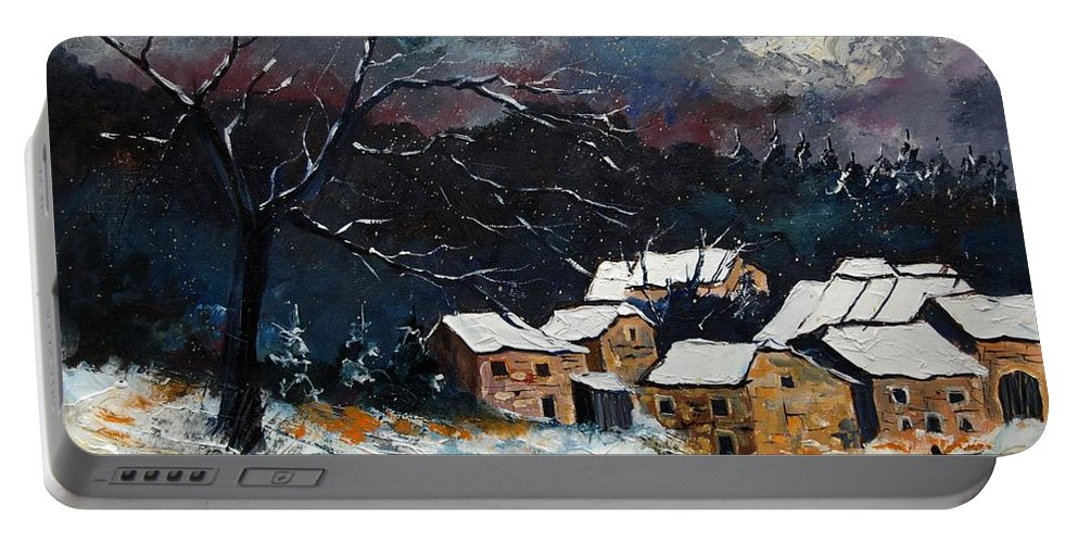 Snow Portable Battery Charger featuring the painting Snow 57 by Pol Ledent