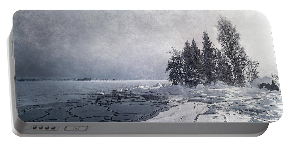 Blatic Sea Portable Battery Charger featuring the digital art Snow And Ice by Mikael Jenei