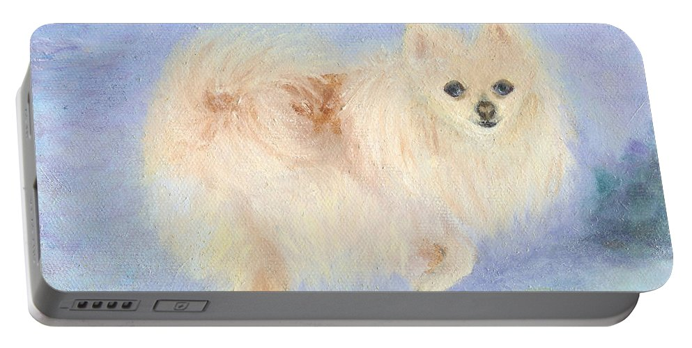 Dog Portable Battery Charger featuring the painting Snow Angel by Paula Emery