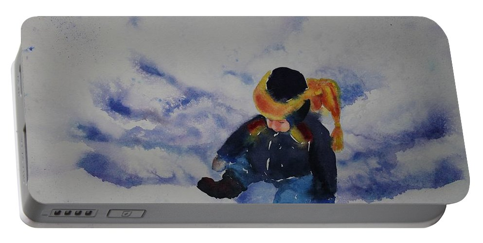 Winter Portable Battery Charger featuring the painting Snow Angel by Ruth Kamenev